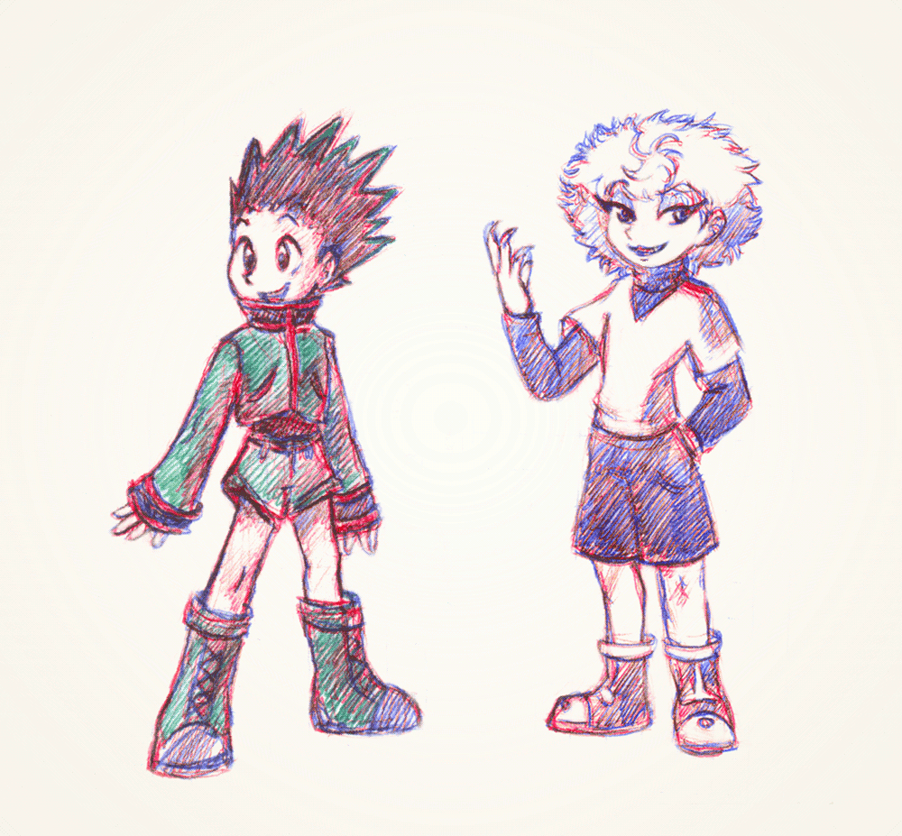 The babies. Tried to simplify Gon to some basic shapes. Ballpoint pen doodles.