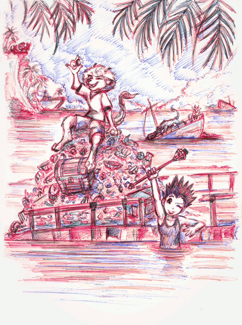 That episode of the 1999 anime but it's Monster AU. Ballpoint pen as well.