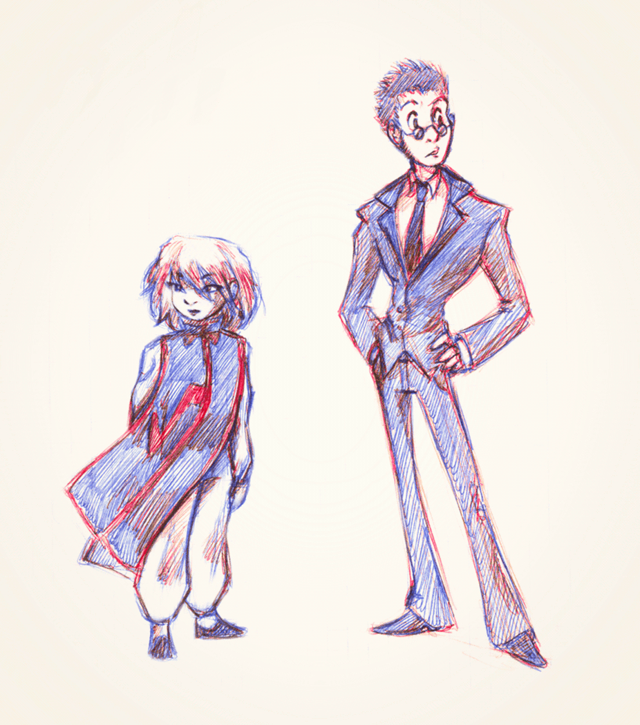 Pika and Leorio, ballpoint pen.